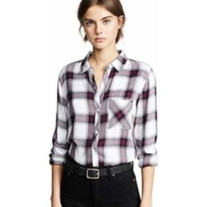 RAILS HUNTER PLUM PLAID SOFT FLANNEL SHIRT XS
